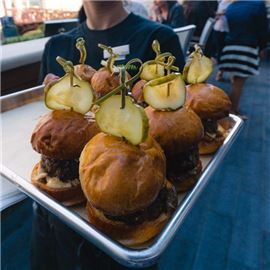 Burgers on a tray
