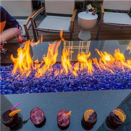 Fire pit with cocktails