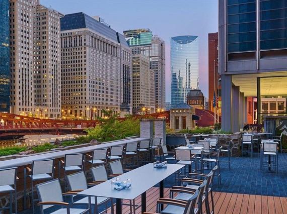 Evening outdoor dining area